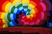 Inside a rainbow colored envelope at the International Balloon Fiesta, Albuquerque, New Mexico USA