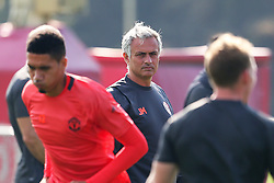 Manchester United manager Jose Mourinho watches Chris Smalling during training - Mandatory by-line: Matt McNulty/JMP - 14/09/2016 - FOOTBALL - Manchester United - Training session ahead of Europa League Group A match against Feyenoord