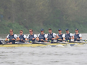 Putney, London, Varsity Boat Race, 07/04/2019, Embankment, Oxford V Cambridge, Men's Race, Crew: Charlie PEARSON, <br /> Ben LANDIS, <br /> Achmin HARZHEIM,<br /> Patrick SULLIVAN, <br /> Tobais SCHRODER, <br /> Felix DRINKALL, <br /> Charlie BUCHANAN, <br /> Augustin WAMBERSIE, <br /> Cox, Toby De MENDONCA Championship Course,<br /> [Mandatory Credit: Patrick WHITE], Sunday,  07/04/2019,  3:20:01 pm,