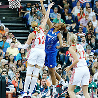 09 August 2012: France Sandrine Gruda goes for the layup past Marion Laborde during the 81-64 Team France victory over Team Russia, during the women's basketball semi-finals, at the 02 Arena, in London, Great Britain.