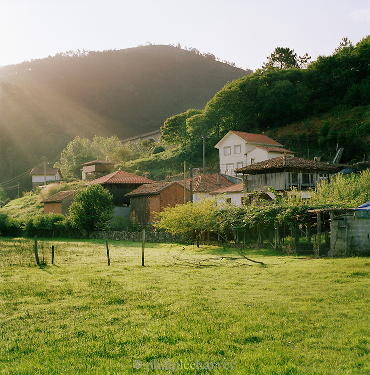 Farm buildings in the rural countryside in Valdredo, Asturias, Spain