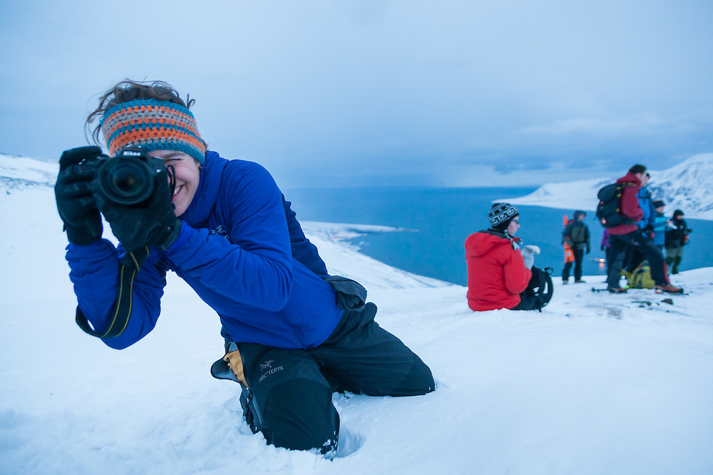 Mylène Jacquemart (with other UNIS students) takes pictures from the rim of Sverdruphamaren, Svalbard.<br /> <br /> Pictured: Michelle Blade