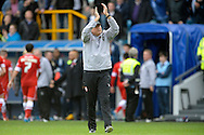 Cardiff City Manager Russell Slade applauding the Cardiff City away fans after the final whistle. Skybet football league championship match , Millwall v Cardiff city at the Den in Millwall, London on Saturday 25th October 2014.<br /> pic by John Patrick Fletcher, Andrew Orchard sports photography.