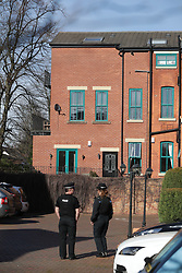 © Licensed to London News Pictures . 24/03/2017 . Manchester , UK . Scene on Lawnside Mews in Didsbury , Manchester where police investigating Khalid Masood's terrorist attack in Westminster have arrested a 30 year old man . Photo credit: Joel Goodman/LNP