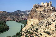 SPAIN, EASTERN COAST Cofrents Castle and Rio Jucar
