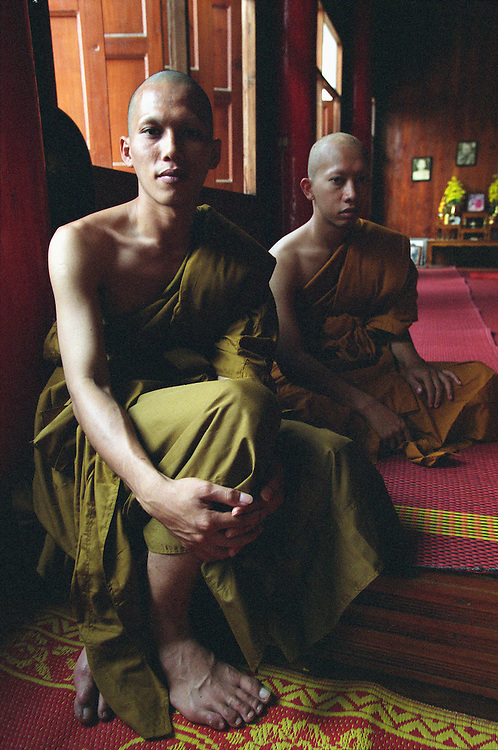 Young Buddhist monks wear their new robes at Wat Hua Wiang in Mae Hong Son, Thailand, following the annual Poy Sang Long festival. Poy Sang Long is a lavish three-day festival where young and adolescent Shan boys are treated as royalty before being ordained as novice monks.