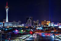 The Stratosphere & Las Vegas Strip Skyline (Night)