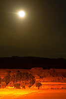 Night view of ruins of a village in the Sahara Desert at Ksar Tamerza, Tunisia