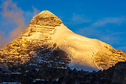 Dawn light on Mount Athabasca, Jasper National Park, Alberta, Canada