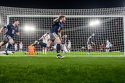 Queen's Park Ryan McGeever cele scoring their second goal. Queen's Park 2 v 1 Airdrie, Scottish Football League Division One game played 7/1/2017 at Hampden.