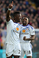 Lamine Kone of Sunderland (l) celebrates with teammate Jermain Defoe after scoring his teams first goal. Premier League match, Crystal Palace v Sunderland at Selhurst Park in London on Saturday 4th February 2017. pic by Steffan Bowen, Andrew Orchard sports photography.
