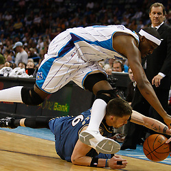 Mar 31, 2010; New Orleans, LA, USA; New Orleans Hornets forward James Posey (41) scrambles for a loose ball with Washington Wizards guard Mike Miller (6) during the second half at the New Orleans Arena. Mandatory Credit: Derick E. Hingle-US PRESSWIRE