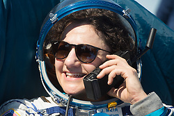 Expedition 62 astronaut Jessica Meir is seen talking on the satellite phone outside the Soyuz MS-15 spacecraft after she landed with NASA astronaut Andrew Morgan and Roscosmos cosmonaut Oleg Skripochka in a remote area near the town of Zhezkazgan, Kazakhstan on Friday, April 17, 2020. Meir and Skripochka returned after 205 days in space, and Morgan after 272 days in space. All three served as Expedition 60-61-62 crew members onboard the International Space Station.<br /> <br /> Where: Zhezkazgan, Kazakhstan<br /> When: 17 Apr 2020<br /> Credit: NASA/GCTC/Andrey Shelepin/Cover Images<br /> <br /> **Editorial use only**