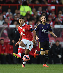 Bristol City's Korey Smith in action during the FA Cup fourth round match between Bristol City and West Ham United at Ashton Gate on 25 January 2015 in Bristol, England - Photo mandatory by-line: Paul Knight/JMP - Mobile: 07966 386802 - 25/01/2015 - SPORT - Football - Bristol - Ashton Gate - Bristol City v West Ham United - FA Cup fourth round