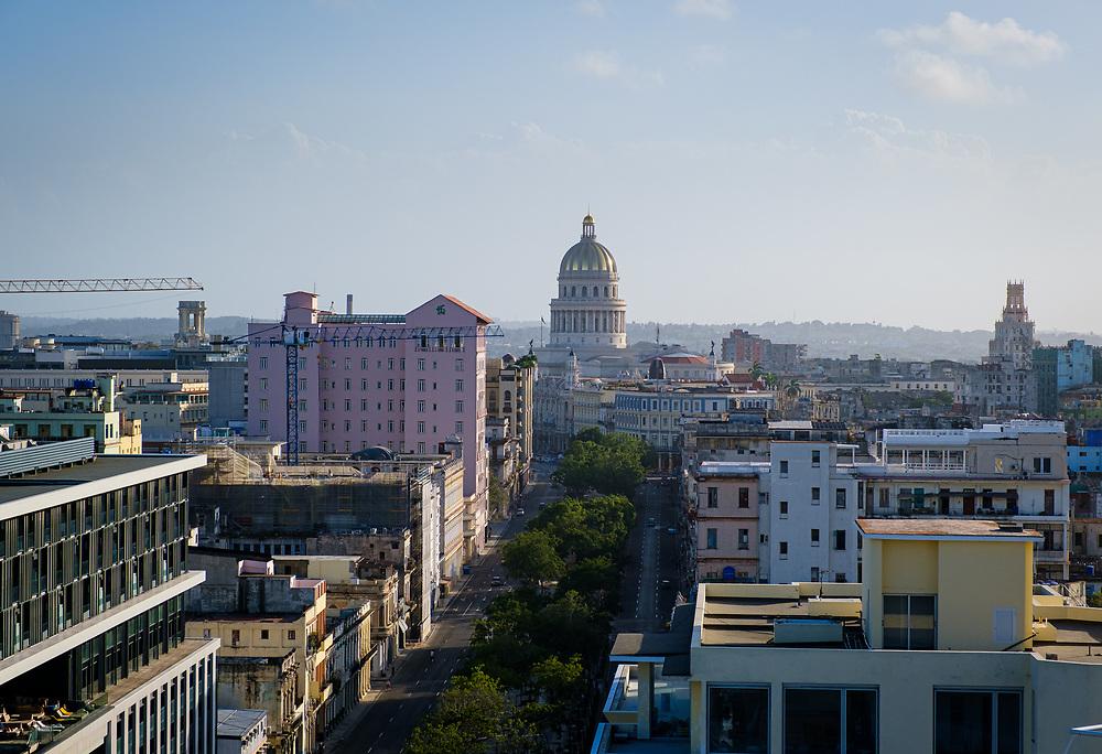 HAVANA, CUBA - CIRCA JANUARY 2020: Aerial view of Havana. Paseo del Prado and Capitolio