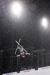 February 11, 2018 - Pyeongchang, South Korea - JAELIN KAUF flies through heavy snow during the finals of the Womens Moguls event Sunday, February 11, 2018 at Phoenix Snow Park at the Pyeongchang Winter Olympic Games. Kauf didn't make it into the final group of six. Photo by Mark Reis, ZUMA Press/The Gazette (Credit Image: © Mark Reis via ZUMA Wire)
