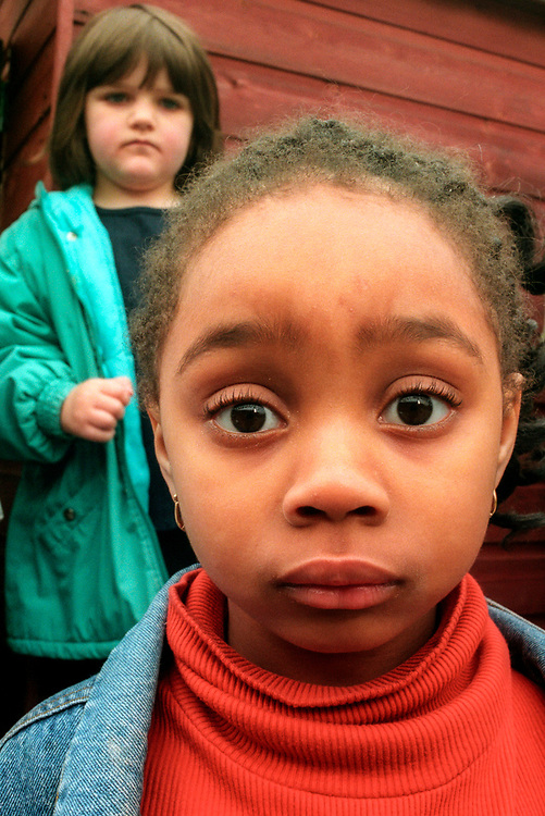 Young girl in school yard,