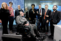 Cosmologist Stephen Hawking attends the New Space Exploration Initiative 'Breakthrough Starshot' Announcement at One World Observatory in New York City, NY, USA on April 12, 2016 . Photo by Dennis Van Tine/ABACAPRESS.COM