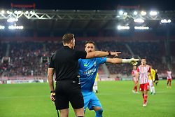 November 8, 2018 - Athens, Attiki, Greece - Goalkeeper of F91 Dudelange Landry Bonnefoi (no 12) protest to the assistant referee, during the match..Olympiacos has won F91 Dudelange 5-1 for the UEFA Europa League. (Credit Image: © Dimitrios Karvountzis/Pacific Press via ZUMA Wire)
