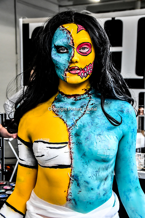 The makeup - Leigh Easthope and model Fallon Havanna demo at IMATS London on 18 May 2019,  London, UK.