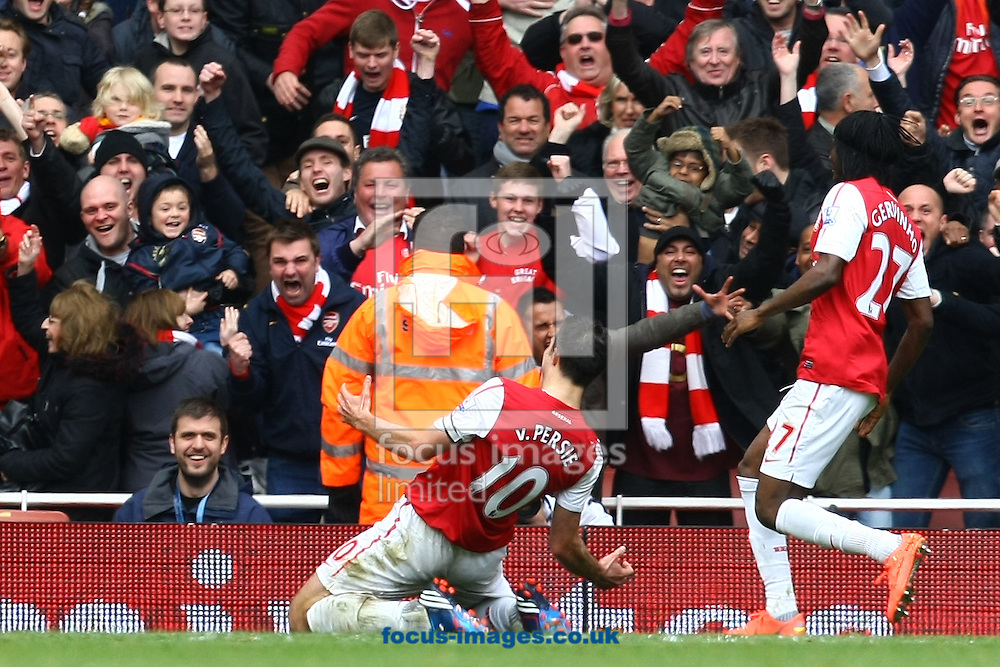 Picture by Paul Chesterton/Focus Images Ltd.  07904 640267.05/05/12.Robin Van Persie of Arsenal scores his sides 3rd goal and celebrates during the Barclays Premier League match at The Emirates Stadium, London.