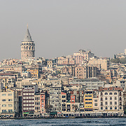The Tower of Galata in Istanbul seen from across the Golden Horn.