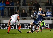 Connacht wing Niyi Adeolokun is held in the tackle during a European Challenge Cup Quarter Final match in Eccles, Greater Manchester, United Kingdom, Friday, March 29, 2019.  (Steve Flynn/Image of Sport)