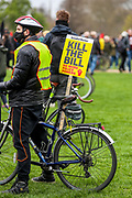 Demonstrators hold banners and flags during a 'Kill the Bill' protest in London on Saturday, April 3, 2021. The demonstration is against the contentious Police, Crime, Sentencing and Courts Bill, which is currently going through Parliament and would give police stronger powers to restrict protests. (Photo/ Vudi Xhymshiti)
