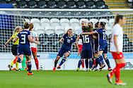 Scotland players celebrate Scotland's first goal (1-0) scored by Erin Cuthbert (#22) of Scotland during the 2019 FIFA Women's World Cup UEFA Qualifier match between Scotland Women and Switzerland at the Simple Digital Arena, St Mirren, Scotland on 30 August 2018.