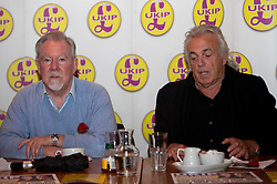 © Licensed to London News Pictures. 23/04/2012. London, U.K..(L-R) Richard Earl of Bradford Ukip Candidate, and Peter Strigfellow. UKIP Press Conference with Richard, Earl of Bradford and Mr Peter Stringfellow. Following his announcement that after 32 years of supporting the Conservative Party, Peter Stringfellow is supporting Ukip candidate Richard Bradford in the Hyde Park by election. The press conference was held at Porters Restaurant owned by Richard the Earl of Bradford...Photo credit : Rich Bowen/LNP