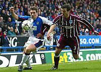 Photo Aidan Ellis.<br />Blackburn Rovers v Manchester City (FA Barclaycard Premiership) 01/03/03<br />Manchester's Niclas Jensen and Blackburn's David Dunn