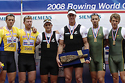 Lucerne, SWITZERLAND. A final Men's double scull left to right ,  GBR M2X, Matt WELLS, Steve ROWBOTHAM, NZL M2X Nathan COHEN, Rob WADDELL, AUS M2X, BRENNEN and David CRAWSHAY Medalist GBR  M2X, at the  2008 FISA World Cup Regatta, Round 2.  Lake Rotsee, on Sunday, 01/06/2008.   [Mandatory Credit:  Peter Spurrier/Intersport Images].Lucerne International Regatta. Rowing Course, Lake Rottsee, Lucerne, SWITZERLAND.