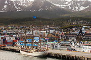 Square rigger tourist ship from The Netherlands, 'Europa', Ushuaia, Beagle Channel, Argentina