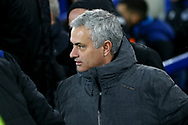 Manchester United Manager Jose Mourinho looks on from the dugout. Premier league match, Everton v Manchester Utd at Goodison Park in Liverpool, Merseyside on New Years Day, Monday 1st January 2018.<br /> pic by Chris Stading, Andrew Orchard sports photography.