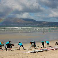 Africa, South Africa, Muizenberg. Surf instruction at Muizenberg Beach near Cape Town.