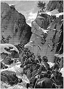 Second Anglo-Afghan War (1878-1880): 10th Bengal Lancers negotiating the Jugdulluk Pass supervised by a British officer, December 1879. Wood engraving.