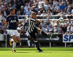 13 August 2017  : Premier League Football : Newcastle United v Tottenham Hotspur:  Dwight Gayle has a rare first half shot for Newcastle :Photo: Mark Leech