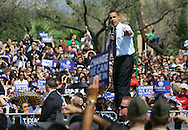 Edinburg, TX - 22 Feb 2008 -.Sen. Barack Obama speaks to an assembled crowd outside UTPA's student union during a campaign rally held at UTPA on Friday morning.