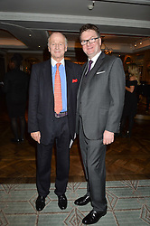 Left to right, SIMON PARKER BOWLES and EWAN VENTERS at a party hosted by Ewan Venters CEO of Fortnum & Mason to celebrate the launch of The Cook Book by Tom Parker Bowles held at Fortnum & Mason, 181 Piccadilly, London on 18th October 2016.