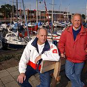 Frits Birkhoff + Hans Borremans protesteren tegen plannen haven Huizen