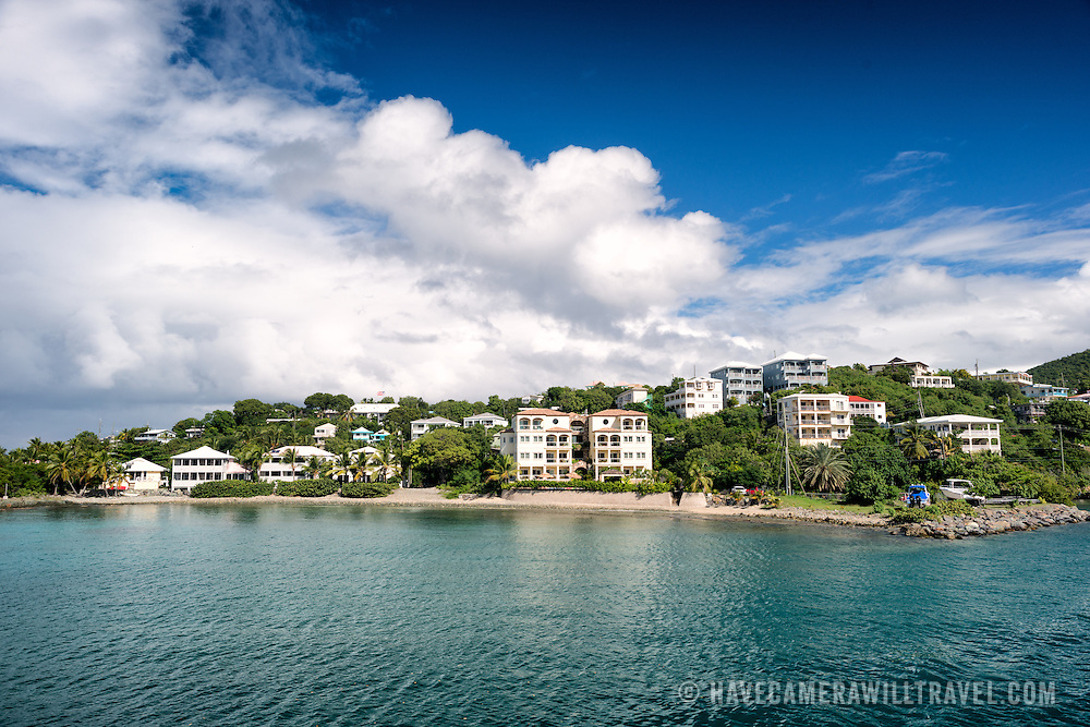 Houses on the waterfront of Turner Bay on St John in the US Virgin Islands.