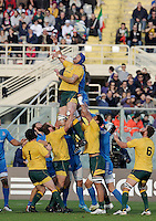 Florence, Italy -In the photo Sharpe on touchè.Artemio Franchi stadium in Florence Rugby test match Cariparma.Italy vs Australia. (Credit Image: © Gilberto Carbonari).