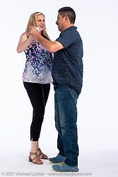 Francisco Uribe dancing with Jenny Desmond at the Intercambio portrait Shoot. Longmont, CO, USA. June 6, 2021. Photography ©2021 Michael Lichter. Usage rights granted to Intercambio Uniting Communities and its assigns.