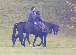 © Licensed to London News Pictures. 18/10/2021. Windsor, UK. Prince Andrew, Duke of York is seen riding. Horse in the grounds of  Windsor Castle in Windsor, Berkshire. The Duke Of York's response allegations he sexually assaulted Virginia Giuffre in 2001 must now be filed to a court in New York by 29 October. Photo credit: Ben Cawthra/LNP