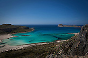 Balos Beach, on Gramvousa peninsula, in north western Crete, Greece. The beach is famous for its white sands and turquoise waters and is a protected nature reserve.