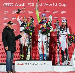 11-01-2011 SKIEN: FIS WORLDCUP: FLACHAU<br /> v.l. Hermann Maier, Tanja Poutiainen (FIN), Maria Riesch (GER), Nastasia Noens (FRA) // during womens ski World Cup Slalom in Flachau, Austria<br /> ***NETHERLANDS ONLY***<br /> ©2012-FotoHoogendoorn.nl