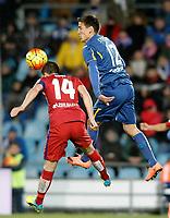 Getafe's Stefan Scepovic (r) and Atletico de Madrid's Gabi Fernandez during La Liga match. February 14,2016. (ALTERPHOTOS/Acero)