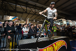 Bicycle demo at EICMA, the largest international motorcycle exhibition in the world. Milan, Italy. November 19, 2015.  Photography ©2015 Michael Lichter.