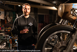 Sean at the Revival Cycles after-party for the Handbuilt Show. Austin, Austin USA. Sunday, April 14, 2019. Photography ©2019 Michael Lichter.