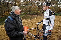 German cyclocross pro rider Philipp Walsleben of BKCP-Powerplus team (R) and trainer Paul Ponnet (L) during a training session, in Aarschot, November 20, 2013.  Babylonia/Thierry Roge